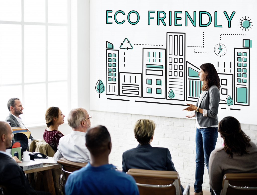 person discussing about eco-friendly